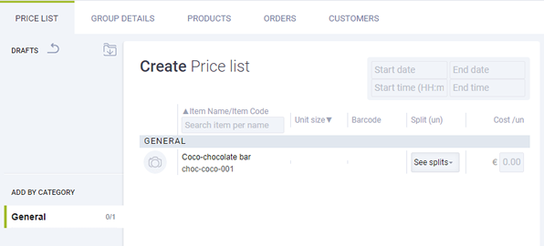 create pricelist